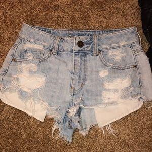 Distressed A&E denim shorts